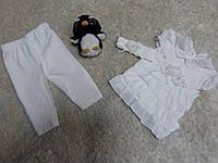 Нарядный костюм дл крещения на девочку молочный тройка на 6-9 м