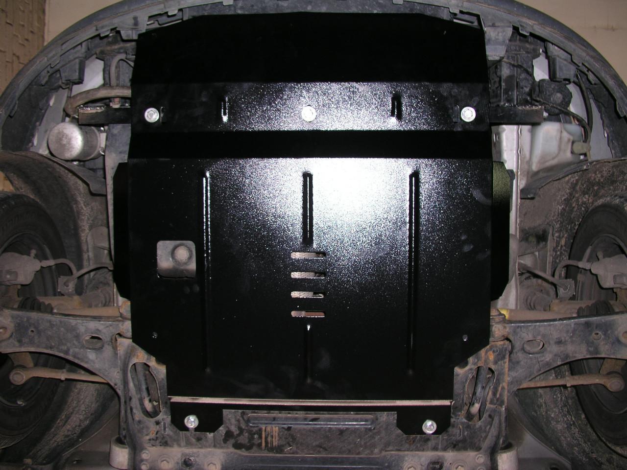 Защита картера (двигателя) и Коробки передач на Ситроен С1 I (Citroen C1 I) 2005-2014 г (металлическая/увеличенная)