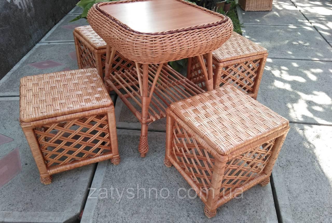Плетеная мебель с  табуретками