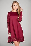 Платье Эрин свободное с перфорацией расклешенное к низу с ажурными вставками 44-52 размер бордовое, фото 1
