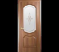Дверное полотно Рока со стеклом сатин и рисунком