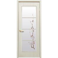 Дверное полотно Виктория со стеклом сатин и рисунком