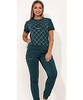 Костюм двойка футболка и брюки темно бирюзовый размеры от XL 4286