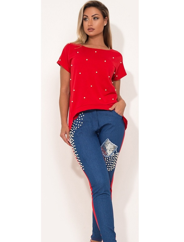 Костюм двойка кофта и брюки красный размеры от XL 4283