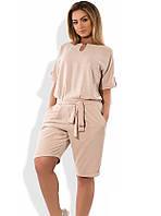 Женский комбинезон с шортами бежевый размеры от XL 4274