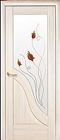 Дверное полотно Амата со стеклом сатин и рисунком