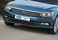 Накладки на передний бампер (3 шт, нерж) - Volkswagen Passat B8 2015+ гг.