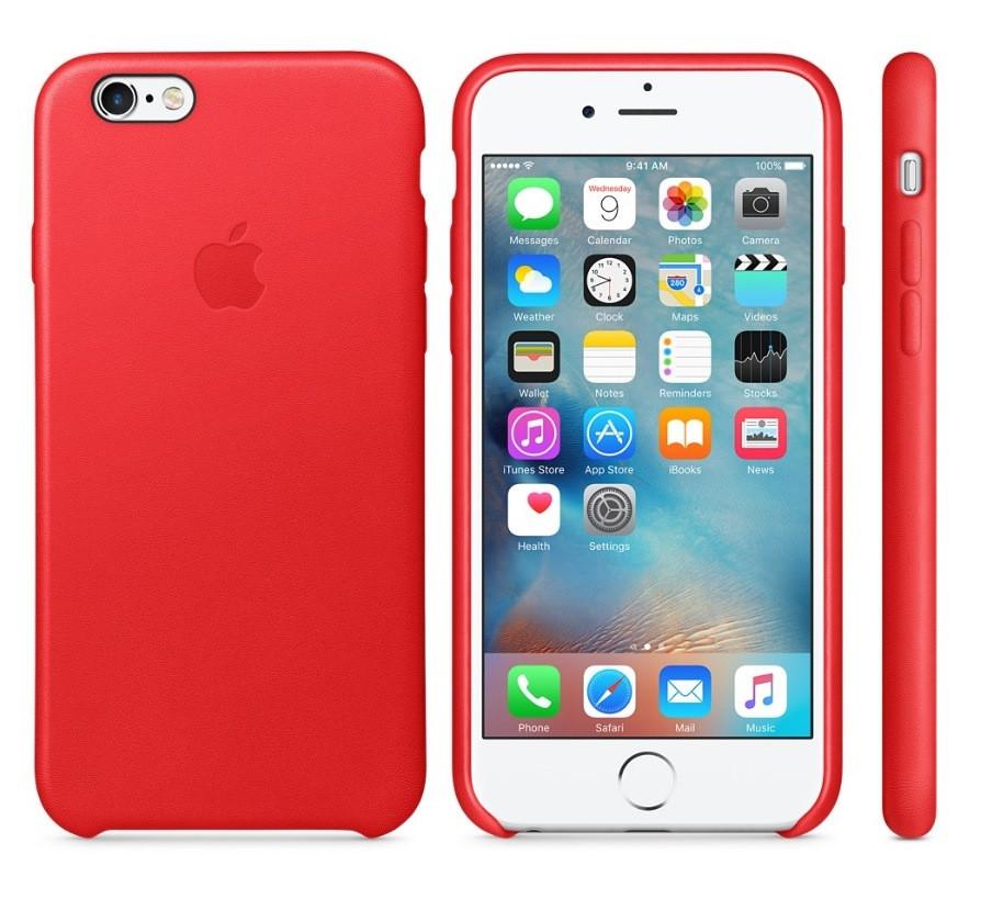 """Накладка iPhone 6 """"Leather Case"""" Красная"""