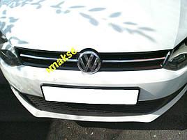 Накладки на решітку HB (2009-2013, 2 шт, нерж) - Volkswagen Polo 2009-2017 рр.