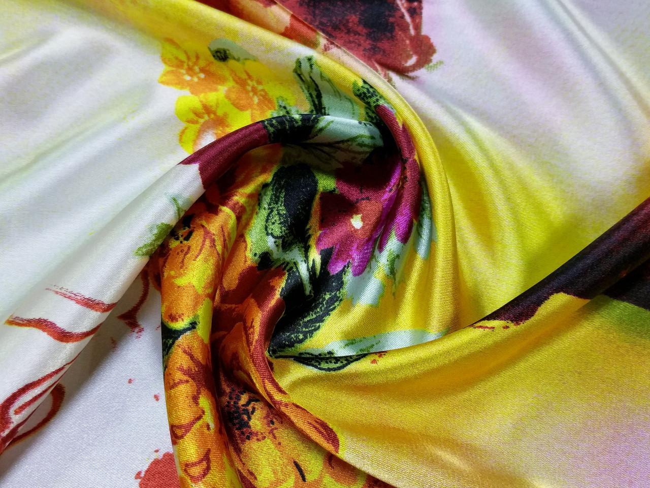Атлас стрейчевый цветочная акварель, желтый