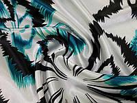 Атлас стрейчевый крупные цветы, бирюзовый
