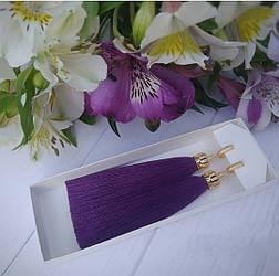 Серьги кисти люкс в расцветках с колпачками корона с фианитами v467