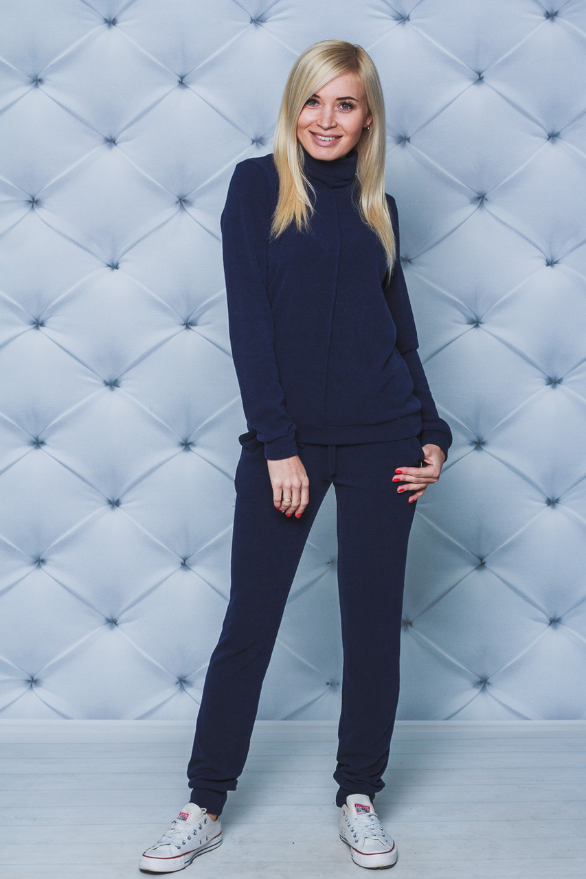 Костюм женский из шерсти свитер+штаны темно-синий