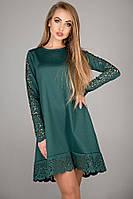 Сукня Ерін вільний з перфорацією розкльошені до низу з ажурними вставками 44-52 розмір зелене, фото 1