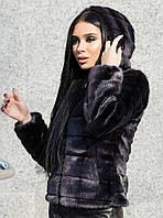 Короткая женская шуба графит из искусственного меха норка с капюшоном 39SU37