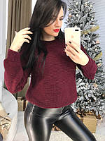 Женский свободный теплый свитер с широкими рукавами 58KF461, фото 1