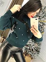 Женский свитер с декором жемчуг 58KF462, фото 1