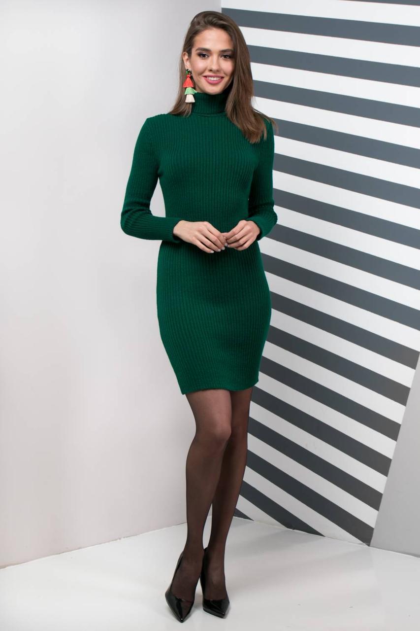Теплое платье для офиса (бутылка)