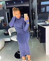 Длинное вязаное платье с высокой горловиной 18PL2068, фото 1