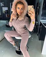 Теплый женский вязаный костюм с мехом на капюшоне 18KO896, фото 1