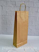 Пакет подарунковий крафтовий під бутилку 39*16 см
