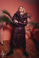 Объемное пальто одеяло из плащевки с воротником-стойкой 60PA157