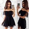 Платье с открытыми плечами и сеткой 66PL2083
