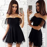 Платье с открытыми плечами и сеткой 66PL2083, фото 1