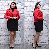 Двухцветное кашемировое пальто в больших размерах прямое 6BR1182, фото 1