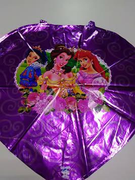 Гелиевый шарик фольгированный сердце с рисунком принцессы
