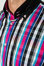 Рубашка мужская с однотонным воротником 50P009 (Черно-малиновый), фото 2