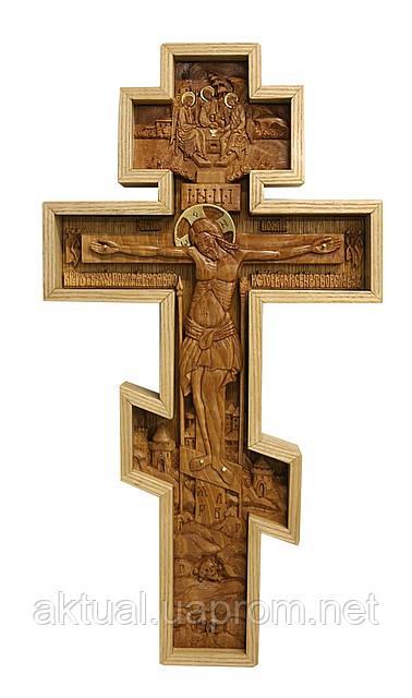 Крест с распятием Иисуса Христа настенный резной