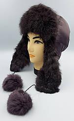 Зимняя женская шапка-ушанка Капучино
