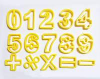 """Набор вырубки """"цифры"""" пластмассовые  15шт на планшете  h6см ,Галетте -00393"""