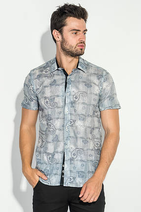 Рубашка мужская принт пейсли, светлая 50P118 (Серый), фото 2