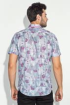 Рубашка мужская принт пейсли, светлая 50P118 (Серо-малиновый), фото 3