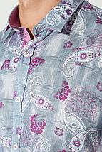 Рубашка мужская принт пейсли, светлая 50P118 (Серо-малиновый), фото 2