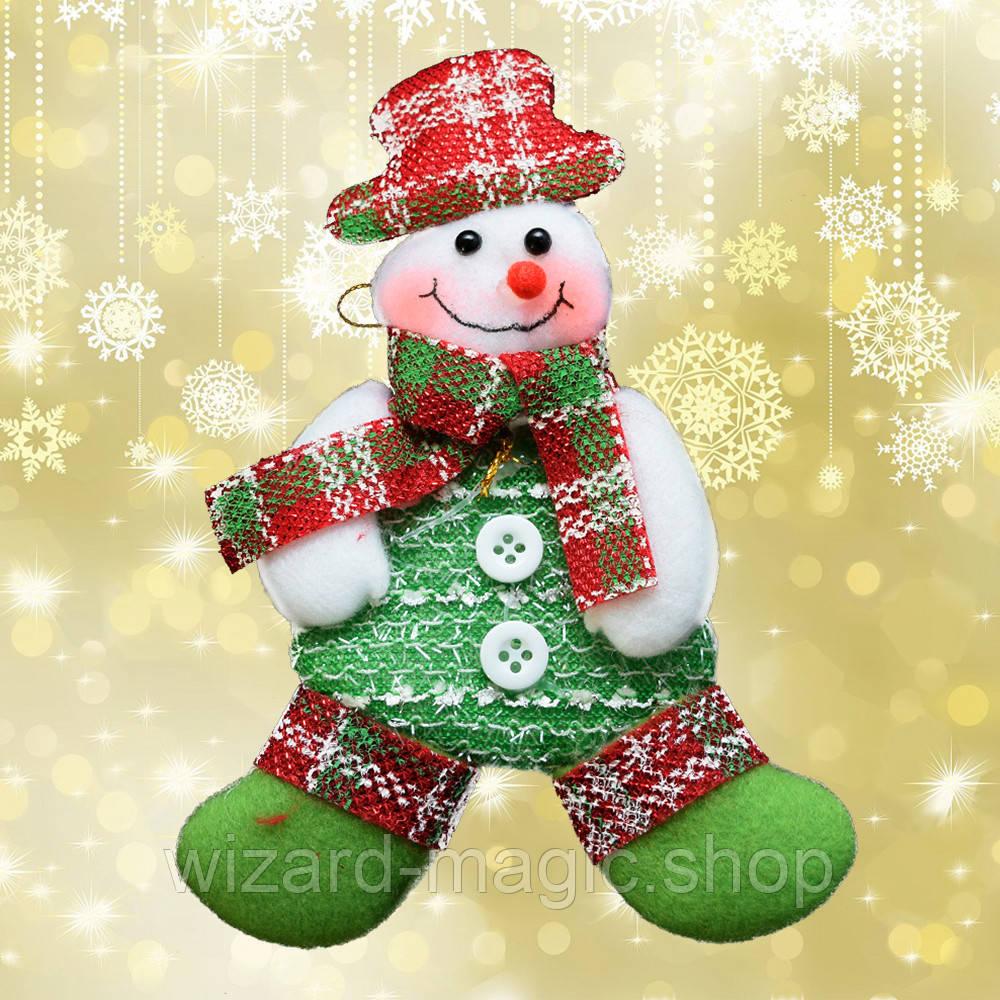 Подвеска мягкая Снеговик (зеленый)