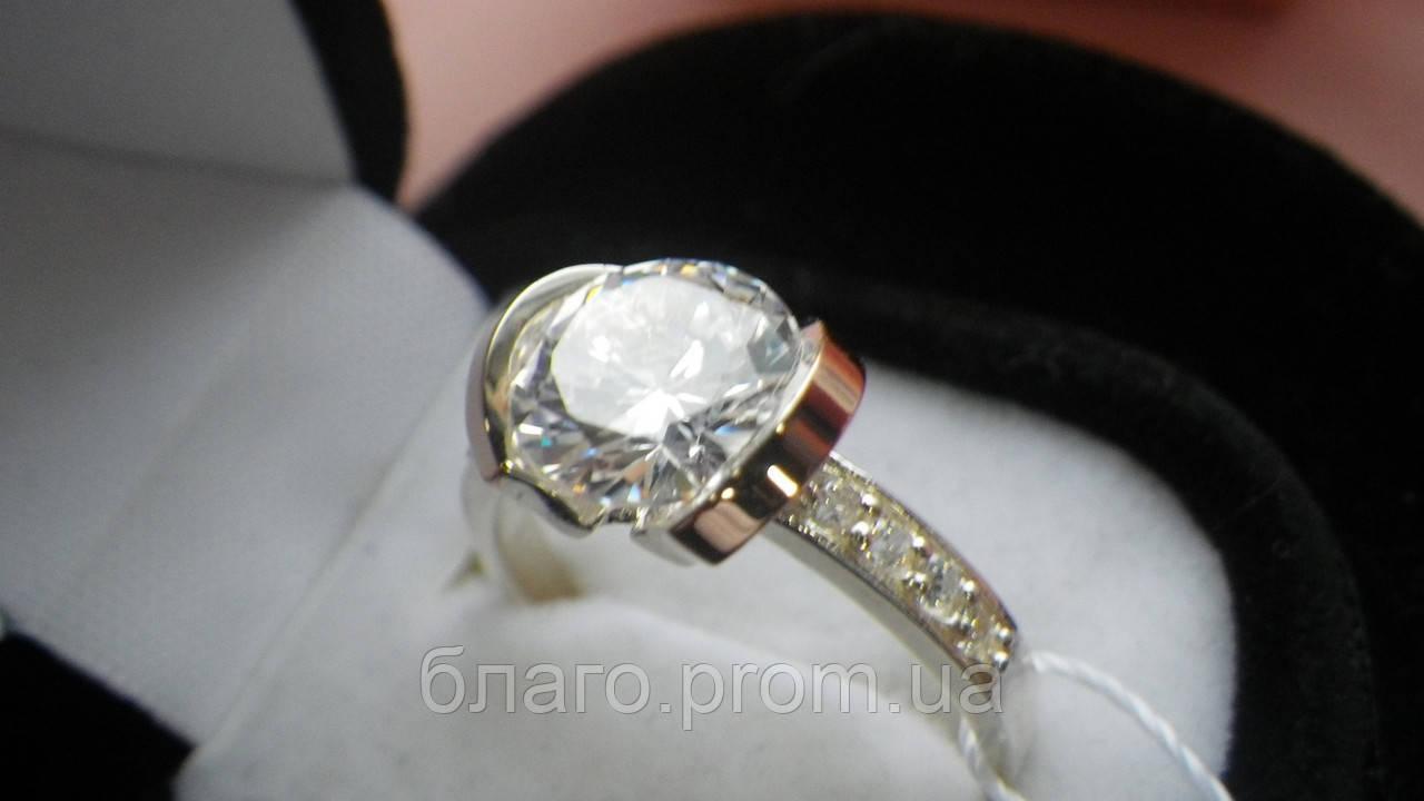 Серебряное  кольцо с золотом  Берта