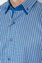 Рубашка мужская в полоску, с двойным воротником 50P2032-1 (Синий), фото 3