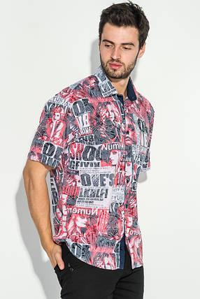 Рубашка мужская газетный принт 50P2340 (Красный), фото 2