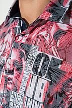 Рубашка мужская газетный принт 50P2340 (Красный), фото 3