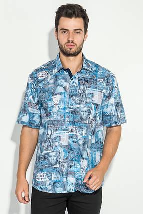 Рубашка мужская газетный принт 50P2342 (Голубой), фото 2