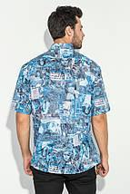 Рубашка мужская газетный принт 50P2342 (Голубой), фото 3
