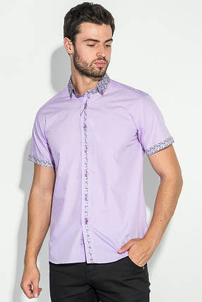 Рубашка мужская цветочный воротник 50P021 (Сиреневый), фото 2