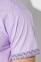 Рубашка мужская цветочный воротник 50P021 (Сиреневый), фото 3