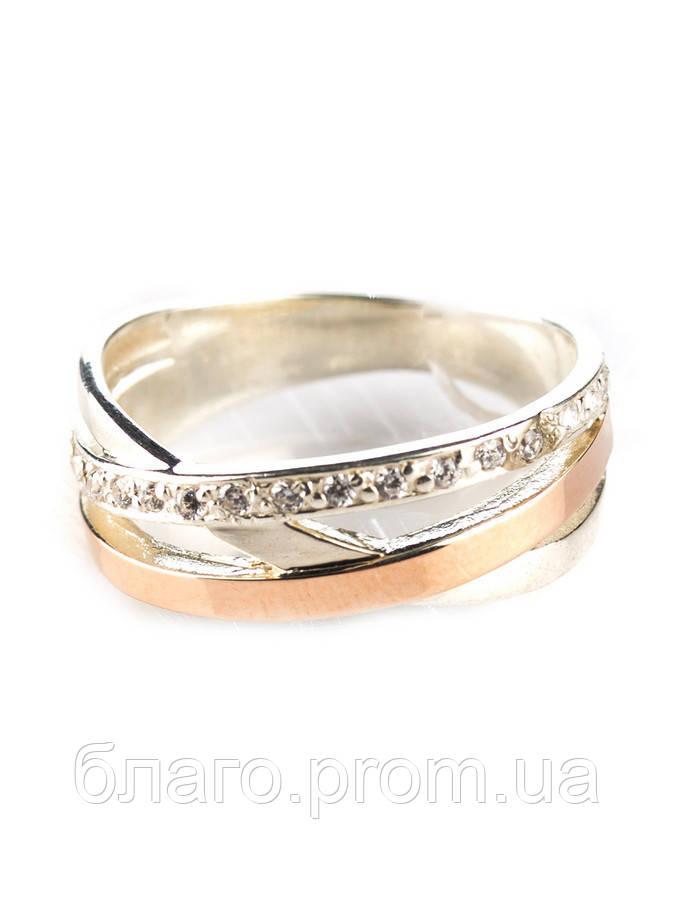 Серебряное кольцо с золотом Нежность