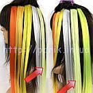 🍈 Бледный шартрез, цветные пряди волос на заколках клипсах 🍈, фото 7