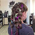 🍈 Бледный шартрез, цветные пряди волос на заколках клипсах 🍈, фото 9