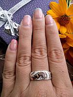 """Серебряное кольцо с золотом Сицилия""""Г"""", фото 1"""